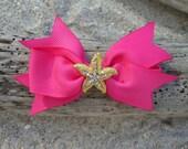 Starfish Fuchsia Pink Grosgrain Ribbon Bow Hair Clip,Mermaids, Beach Weddings,Girl Hair Clip, Summer Vacation, Starfish