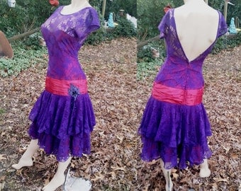 80s Prom Dress in Purple Lace by TD4/ Vintage Dress/ Lace Dress in Purple and Mauve Size 4