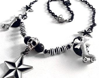 Derby Love Black and White Necklace, Roller Skate Necklace, Skull Necklace, Nautical Star Necklace, Roller Derby Necklace