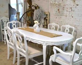 Painted Cottage Chic Shabby White French Dining Table TBL68