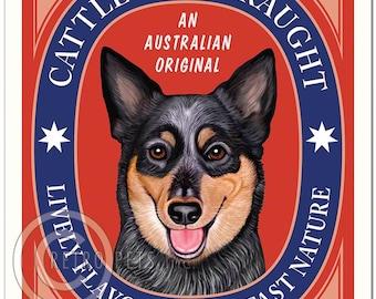 8x10 Australian Cattle Dog Art - Cattle Dog Draught -  Art print by Krista Brooks