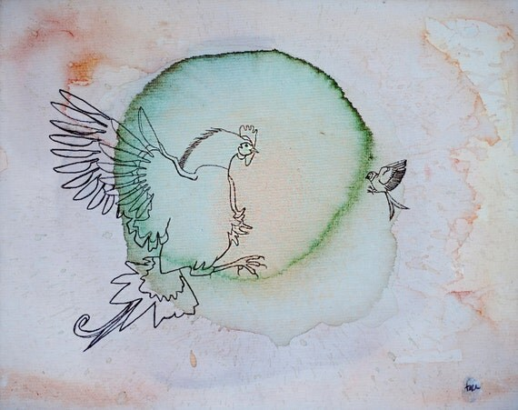 minimalist ink and watercolor print: Cock and Swallow