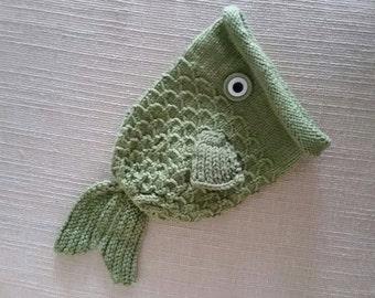 Fish Hat, hand knit stocking cap