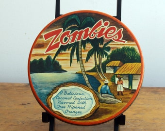 Price Reduced - Zombies Candy Tin - vintage, genuine, 1950s - rare orange tin - coconut candies - very funky!!