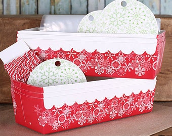 Christmas Loaf Pan Kit with Snowflake Baking Pans, Tags, Bakers Twine and Bags, Red Bread Loaf Pans, Holiday Bread Pans, Paper Loaf Pans (6)