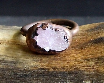 Rose Quartz Copper Ring Rough Stone Jewelry Size 5.5 Raw Crystal Copper Gemstone Ring Artisan Handmade