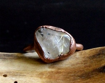 Quartz Copper Ring Gemstone Size 8.5 Cocktail Ring Rutile Gold Phantom Raw Crystal Artisan Jewelry Handmade For Her