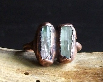 Tourmaline Ring Rough Stone Jewelry Dual Stone Size 4.5 Ring Raw Crystal Gemstone Copper Ring