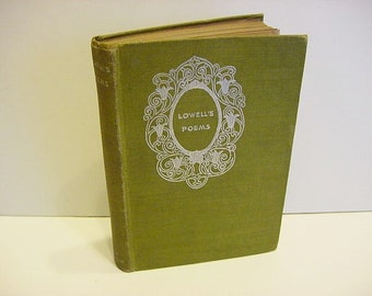 On Sale...Victorian Antique James Russell Lowell Poems Poetry Sonnets Book Silver Gilt on Green Cloth