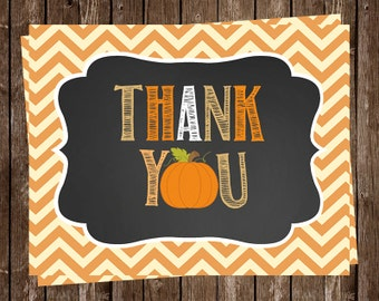 Pumpkin Thank you Cards, Baby Shower, Birthday, Chevron Stripes, Orange, Fall, Autumn, Set 24 Folding Notes, FREE Shipping, Chalkboard