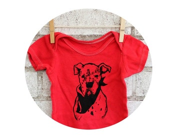 Dog Baby Onepiece Bodysuit, Cotton One Piece Snapsuit, Romper,  Bull Dog, Dog, Red, DOGO, Animal Lover, Family Pet, Canine Rescue, Cotton
