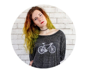 Oversized Shirt, Ladies Long Sleeved Bicycle T Shirt, Flowy Off The Shoulder Graphic Tee Hand Screen-Printed, Black Speed Bike, Cyclist Gift