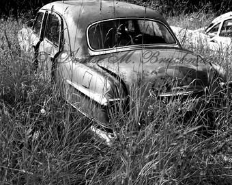 Black and White Car Photography - Rustic Wall Art - Old Car Auto Art - Man Cave Art - Vintage Car Art - Rustic Car Art - Classic Car Print