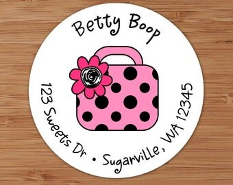 Betty (Polka Dotted Purse) Custom Address Labels or Stickers
