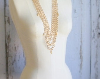 Gold Chain Necklace, Multi Strand Necklace, Chunky Necklace, Statement Necklace, Gold Layered Necklace