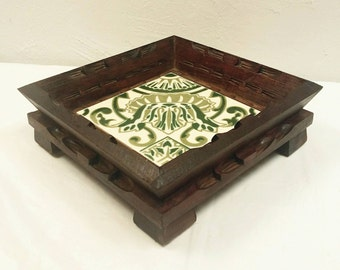 1960s Heavy Carved Wood With Green Patterned Tile