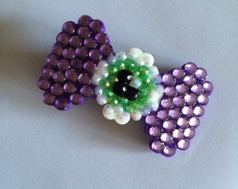 Purple Eyeball Bow Rhinestone Plastic Bow Clip