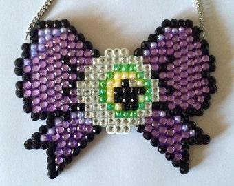 Huge Purple Eyeball Bow Rhinestone Statement Necklace