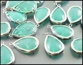 2 amazonite in bright silver bezel set pendants, synthetic semi precious stones, charms 5121BR-AZ