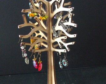 Lightweight Wood Earring Tree Holder holds 30 Pairs