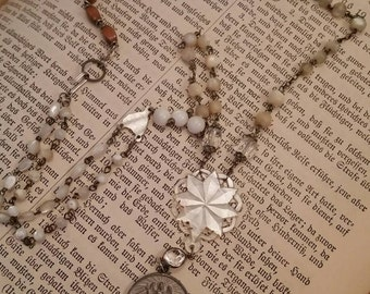 Upcycled Vintage Religious Assemblage Necklace, long,ooak,Religious medal