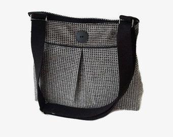 Black Tweed Pleated Crossbody Bag - Upholstery Fabric Messenger Purse - Black Shoulder Bag - Adjustable Strap - Tweed Handbag
