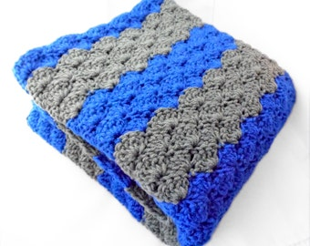 Crib Size Crochet Baby Blanket in wide stripes oo royal blue and grey/ boy nursery / baby blanket / baby gift