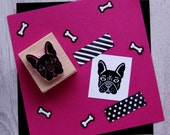 Dog Stamp - French Bulldog Hand Carved Rubber Stamp