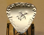 Bronze Guitar Pick with Tortoise Stamp and Hammered Design Work - GP939