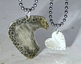 Sterling silver guitar pick and heart couples interlocking necklaces - NL382