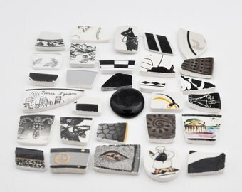 Broken China Mosaic Tiles - Shades of Black - Assortment - Cabochon Collection - Set of 30