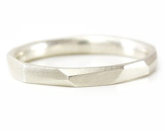 Silver Stacking Ring Thin Faceted Geometric Stacking Ring Argentium Silver Custom made to fit