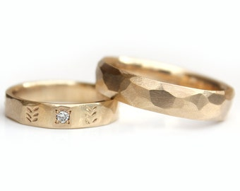 Wedding band set His hers Wedding Rings Gold wedding ring set Leaf pattern with Diamond