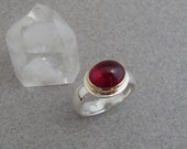 Rubellite Tourmaline Ring in 18k Gold and Sterling