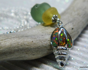 Sea Glass and Sterling Silver, Fire Opal Sea Shell Pendant
