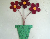 Metal art flower pot wall sculpture recycled metal kitchen bathroom wall decor teal green burgundy rose 9 x 14