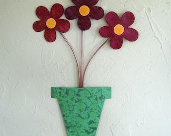 Metal art flower pot wall sculpture recycled metal kitchen bathroom wall decor teal green burgundy rose 9 x 14