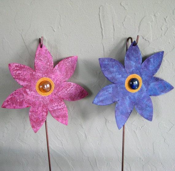 Metal art garden sculptures - two flower stakes - upcycled metal yard art pink purple