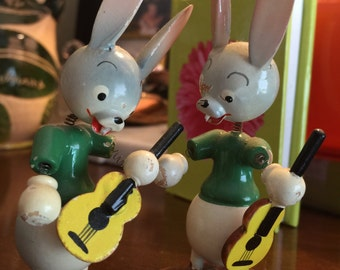 Rabbit Antique Wooden Bunny Rabbit Figures with Wiggly Bobble Heads Made in Spain