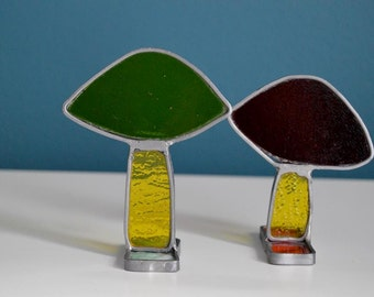Vintage Set of Two Stained Glass / Suncatcher Mushrooms