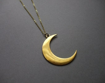 Boho Necklaces Layering Necklaces Gold CRESCENT MOON Long Boho Necklace Layering Necklace Moon Necklace Bohemian Jewelry Gift for Her