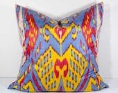 20x20 blue yellow red ikat pillow cover, blue red pillows, blue pillows, blue yellow, sofa pillows, cushions, ikats, pillows throw pillows