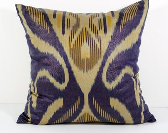 15x15 dark blue cream ikat cushion cover, pillow cover, ikats, blue pillows, pillows, dark blue yellow, hand woven ikat, authentic ikat
