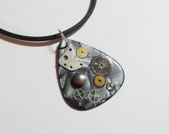 Guitar Pick Necklace Steampunk Watch Gears Black Pearloid