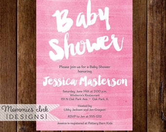 Pink Watercolor Baby Shower Invitation, Shower Invite, Shower Invitation, Pink Watercolor Invitation, Watercolor Texture Invite, It's a Girl