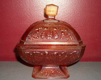 Vintage Amberina Candy Dish Carnival Red Orange Acorn Pattern