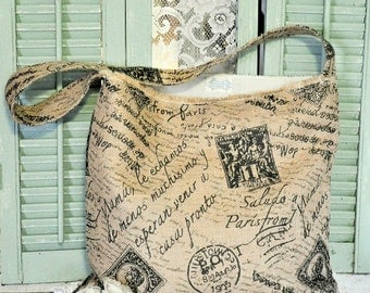 Burlap tote,market tote,Paris,shabby chic,handbag