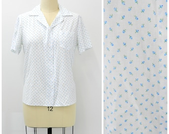 Vintage 60s Button-up Blouse...Blue Floral Button-up Top...Handmade...Summer Top...Plus Size Large to Extra Large