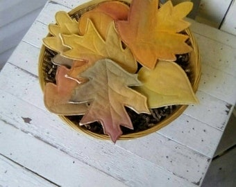 Primitive Fabric Fall Leaves, Cupboard Tucks, Fall Decor, Fall Leaves Bowl Fillers, Autumn Leaves Ornies, Set of 7