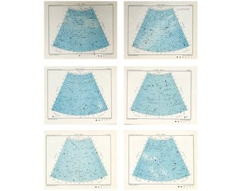 1955 VINTAGE STAR MAPS - set of 6 original vintage lithographs of the celestial constellations - astronomy charts northern hemisphere